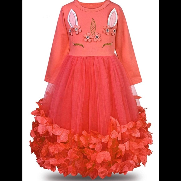 Unicorn Flower Petal Tutu Princess Dress - Red